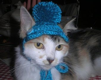 Crocheted Cat or Dog Hat with Scalloped Brim and PomPom Turquoise, Pink, Purple or Cream X Small or Small