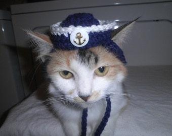 Sailor Dog or Cat Hat Crocheted Navy Military Naval Anchor Beach Theme Cap