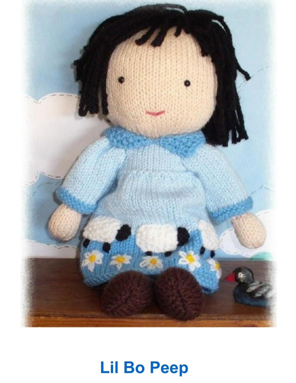Guinea Pig Toy Knitting Pattern : Boo Peep doll PDF email knitting pattern