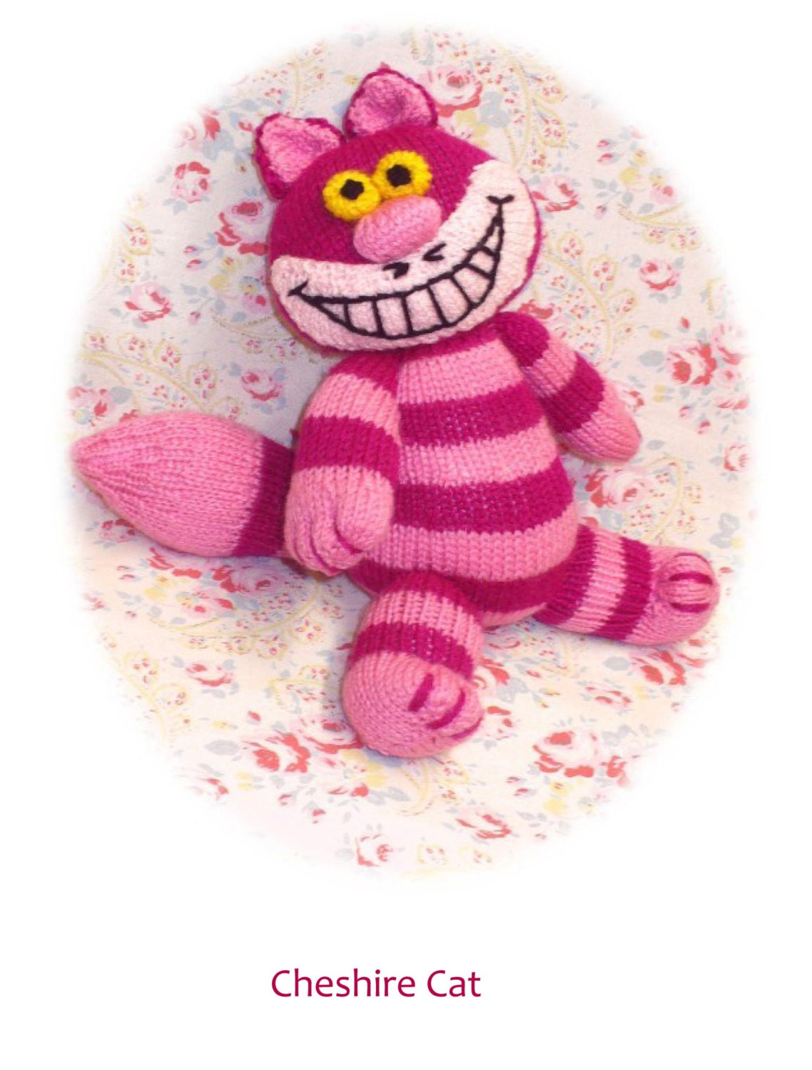 Cheshire Cat Amigurumi Crochet Pattern Free : cheshire cat PDF email knitting pattern alice in wonderland