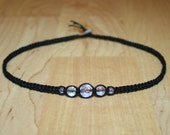 Black Hemp Choker Necklace Iridescent Faceted Clear Glass Beads Black Choker Black Necklace - Womens Choker Womens Necklace Teen Girl Gifts