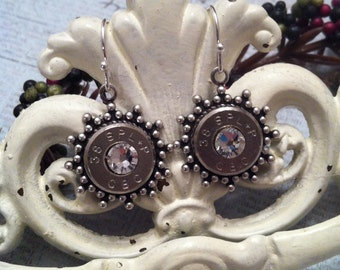 2nd Shot Jewels, Bullet/Shotgun Jewelry, Sunburst Drop Earrings, 38 spl.,  Made from spent rounds of Ammo