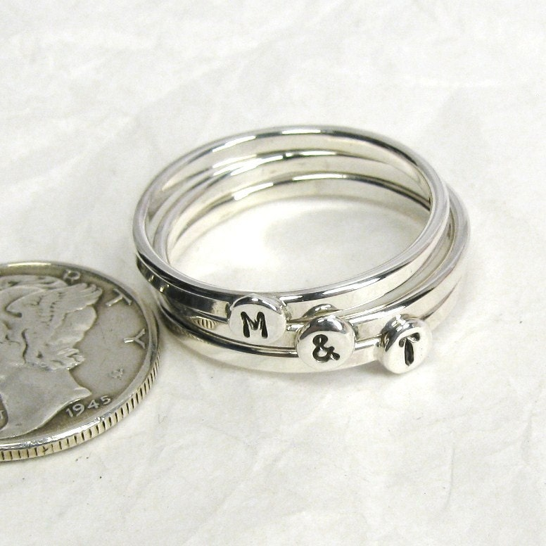 3 sterling silver letter rings 175mm stacking rings With silver letter rings