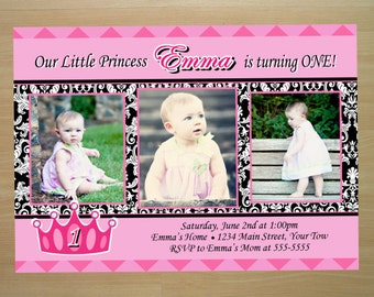 Princess 1st Birthday Invitation - Digital File (Printing Services Available)