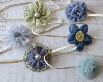 set 6 headbands, baby headbands, newborn headbands, baptism headband, flower headbands, vintage headbands, dainty headbands, blue headbands