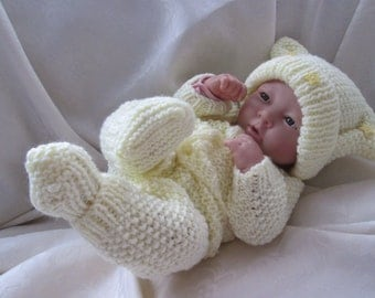 """Hand Knitted Dolls Clothes  for 15"""" La Newborn Berenguer doll, reborn or similar made to order set."""