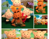 3 Little Pigs and The Bad Wolf Felt Dolls