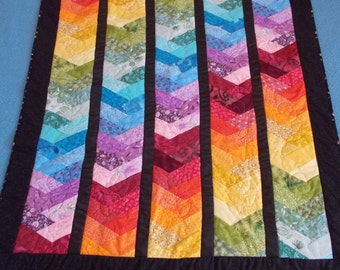 "Colorful ""Rainbow"" Braid Lap Quilt or Throw"