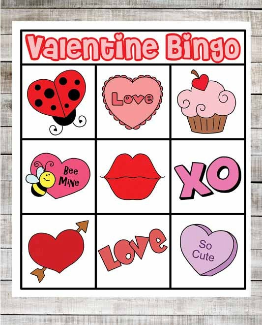 Juicy image throughout printable valentine bingo