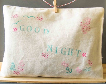 Good Night  /// Hand stamped /// Modern/// Hand made ///Lavender Sachet /// Hand sewn pillow