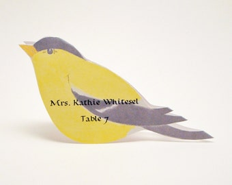 Bird Place Card - Goldfinch - Unique - Wedding Place Card - Event Escort Card - Customized - Goldfinch