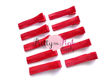 Red Lined Hair Clip Pack of 10...Lined Hair Clip...Ribbon Alligator Clip...Hair Clip...DIY Hair Clip...Wholesale...Baby Girl