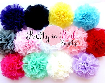 Mini Shabby Puffs...You Choose Quantity...Shabby Flowers...Mini Shabby Rosettes...DIY Headband supplies