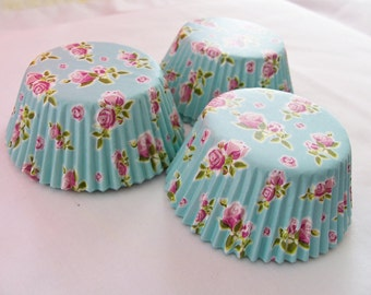 60 Pink rose and seafoam cupcake baking cups - pink rose cupcake liners - rose flower cupcake liners - baking supplies - baking cups