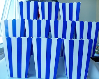 10 Dark blue striped party favour boxes - candy boxes - party favours - circus/fun fair themed boxes - striped boxes
