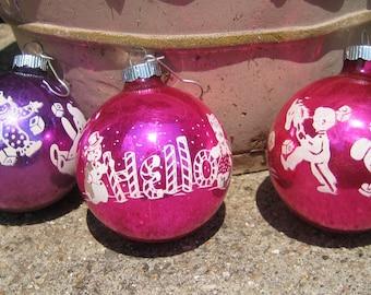 Trio of Shiny Brite Decal Stencil Ornaments Rare