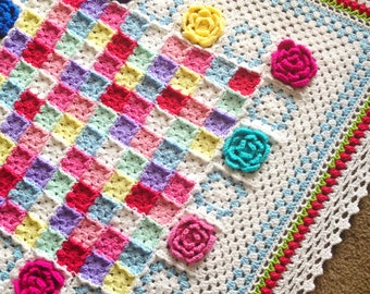 Pattern - BabyLove Brand Rosa Fresca Blanket - Crochet Pattern/Tutorial - Square Shabby Cottage Chic throw - blanket also available