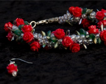 Rose Trellis Kumihimo Bracelet and Earrings