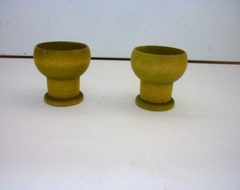 Vintage Aarikka Finland Egg Cups - Avocado Colored Wood, Set of Two (2)