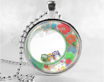 OWL Necklace, Bird Necklace, Owl Pendant, Owl Jewelry, Glass Art Pendant Charm, Bird Jewelry, Flower Necklace