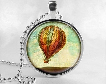 HOT AIR BALLOON Necklace Pendant Jewelry, Glass Photo Art Pendant Charm Jewelry, Travel Jewelry, Wanderlust Wander