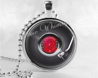 VINTAGE VINYL RECORD Necklace, Music Necklace, Music Jewelry, Music Charm, Photo Art Glass Necklace, Vintage Turntable Phonograph Records