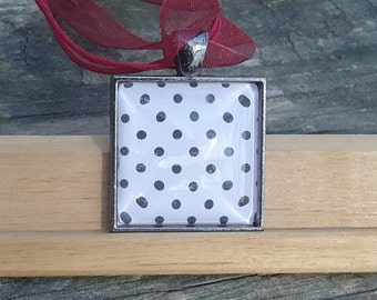 Classic Glass Pendant, Tiny Black Dots on White