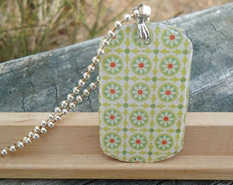 HALF PRICE Green and Red Flowers Dog Tag Pendant Necklace