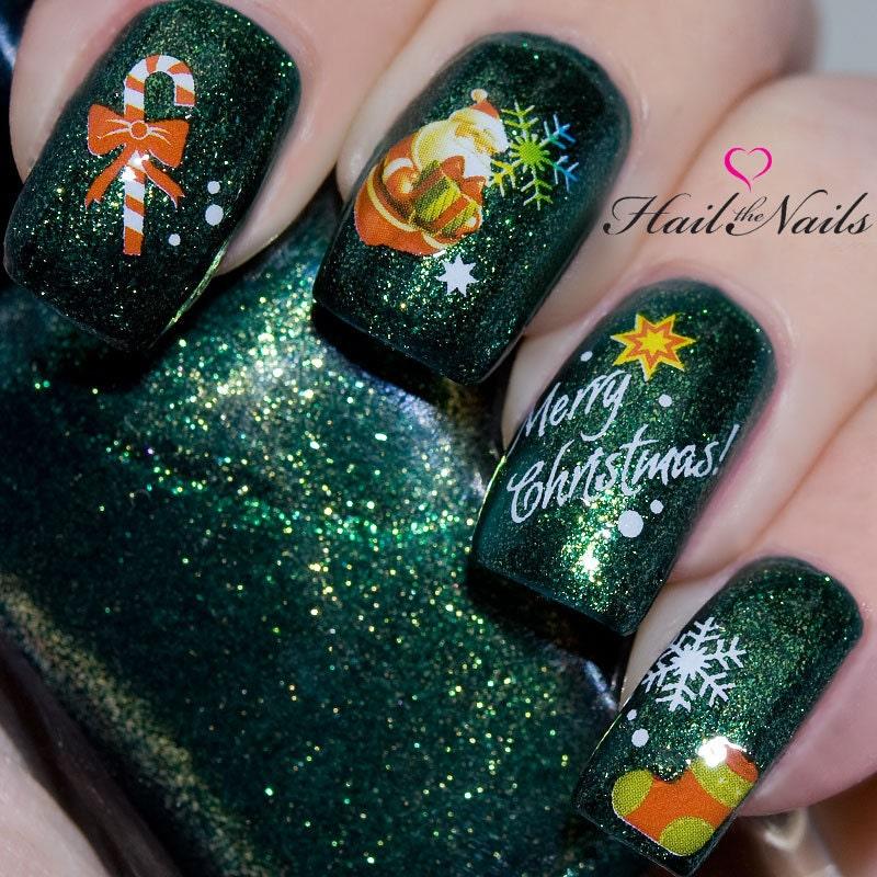 Xmas Nail Transfers: Christmas Nail Wraps Water Transfers Decal Nail Art Y193 Santa