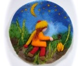 Lantern Walk, Picture,tapestry,Wet felted,Needle Felted. Waldorf
