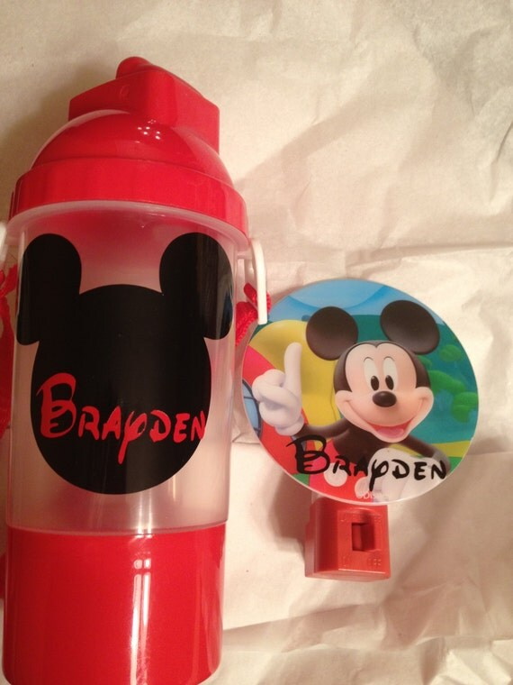 Personalized mickey mouse night light and water bottle with snack pack and strap