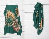 Vintage Silk Scarfs / 1990's Green Vintage Silk Scarf with Geomerical White, Yellow and Orange Print