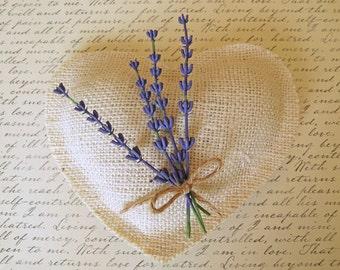 Lavender on Ivory Burlap Wedding Pillow- Ring Bearer Pillow-Woodland Wedding-Heart Shaped Wedding Pillow