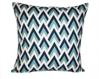 Pillow Cover in Navy, Aqua and White with Invisible Zipper You Choose the Size