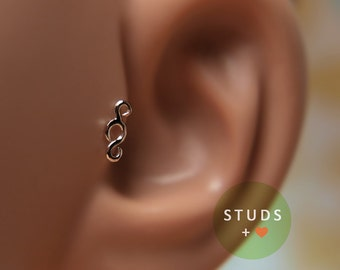 TRAGUS EAR STUD /French Swirl/ Sterling Silver/ Piercing/ Nose stud/ Cartilage Earrings/ Nose ring/ Hoop nose/ Helix Earrings