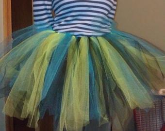 Handmade tutu skirt turquoise blue, lime green, black tulle (size women's small)