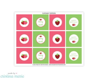 INSTANT DOWNLOAD, strawberry party, cupcake toppers, printable cupcake toppers, party circles