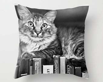 Cat Pillow Case Kitten Pillow Cover - Cat Book Pillow Case 16x16 18x18 20x20 Pillow Cover