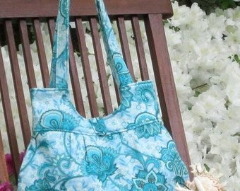 Light Teal flowered print handbag
