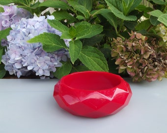 Faceted Red Lucite Bracelet 1960s