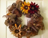 Fall wreath - mesh and burlap with leopard print accent