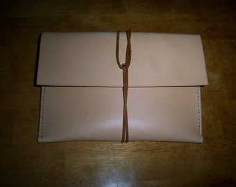 IPAD mini Leather Sleeve in Natural Full Grain Veg Tan Leather . Hand Made in the USA from US sourced materials.