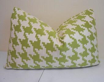 Lime Green - Ivory Outdoor Lumbar pillow cover - sunbrella fabric- Houndstooth outdoor Pillow-