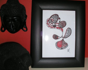 Black & Red Abstract Framed Drawing / Doodle, Eye, Goth, Piano