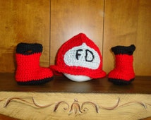 Photo Prop - Crocheted fireman's hat with boots for infant, newborn size 3-6 mos.- Ready to Ship