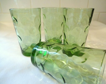Vintage Juice Glasses - Set of 4 - Hazel Atlas - Eldorado - Green Dot - Mid Century Glasses - Mad Men Decor