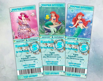 Ariel The Little Mermaid Happy Birthday Party Ticket Invitation Printable
