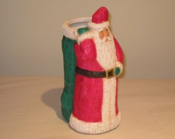 Santa, ceramic, hand painted by Joan Davis, 8 inches X  4 inches