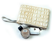 Gold leather clutch bag,make up pouch, leather pouch