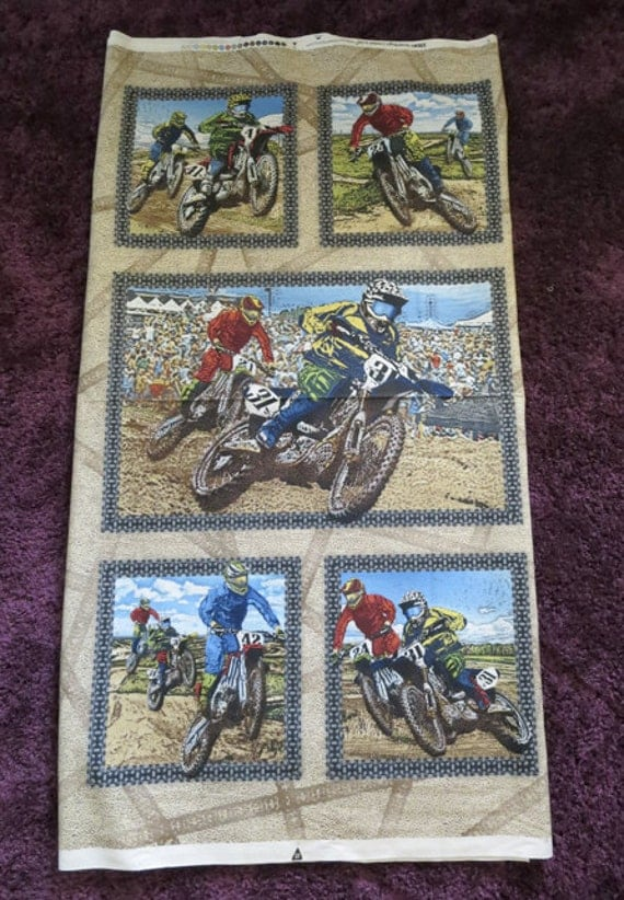 Motocross Motorcycle Fabric Panel Material Quilt By Sewrichau